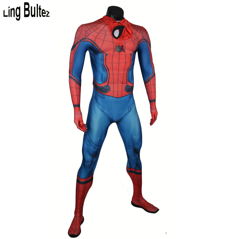 Ling Bultez High Quality New Homecoming Spiderman Costume Newest Adult Civil War Spider Man Spandex Suit Tom Holland Spiderman