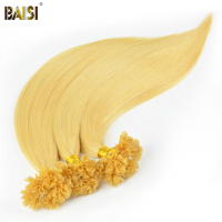 BAISI European Remy Hair Extension Blonde Straight Nail/U Tip Human Fusion Hair, 0.5g/strand, 100strands/lot, Free Shipping