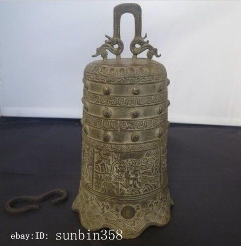 """9 """"Разработать Китай Медь Буддизм Благоприятный Голова Дракона Статуя Человека Колокол Храма"""