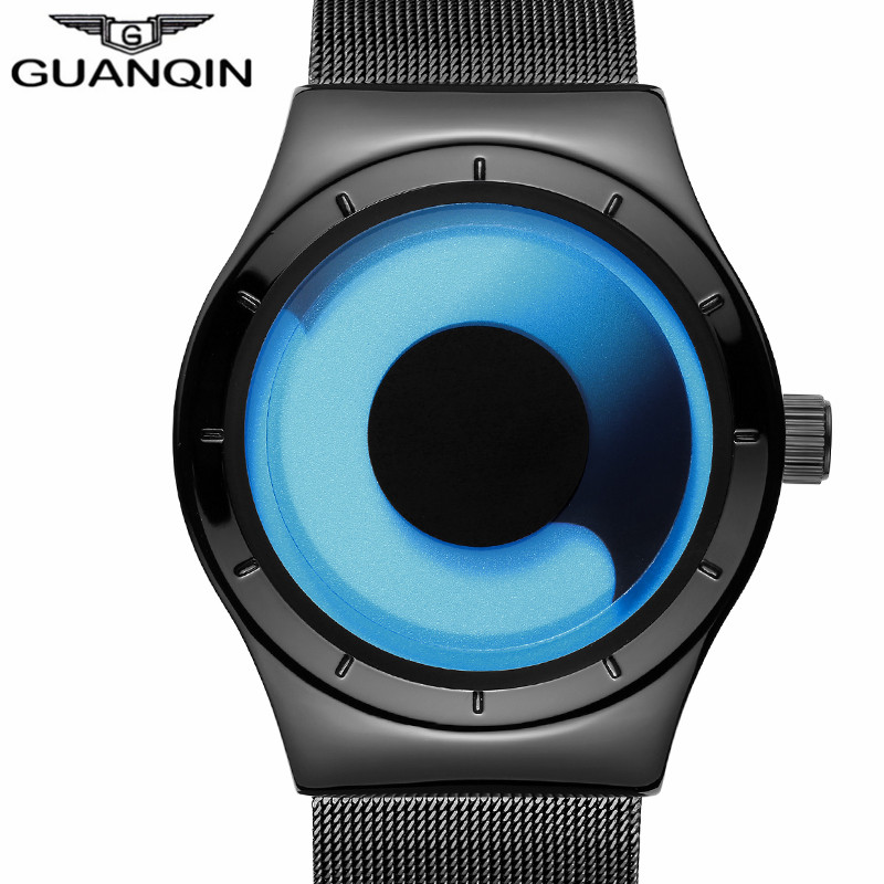 GUANQIN Mens Watches Top Brand Luxury Stainless Steel Mesh Band Quartz Watch Men Fashion Cool Blue Ocean Style relogio masculino wishdoit watch men top brand luxury watches simple business style fashion quartz wrist watch mens stainless steel watch relogio