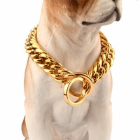 News 16/18mm 14 34 Inches Gold Color Double Curb Cuban Link Stainless Steel Strong Dog Chain Collar Wholesale Pet Necklaces