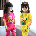 Girls New Summer with Short Sleeves Suit Korean Two-piece Clothing Sets Leisure Cartoon Yellow Rose Red