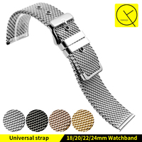 Mesh Stainless Steel Watchband Net For Men Women Watch Band 18 20 22 24mm Watchstrap Bracelet