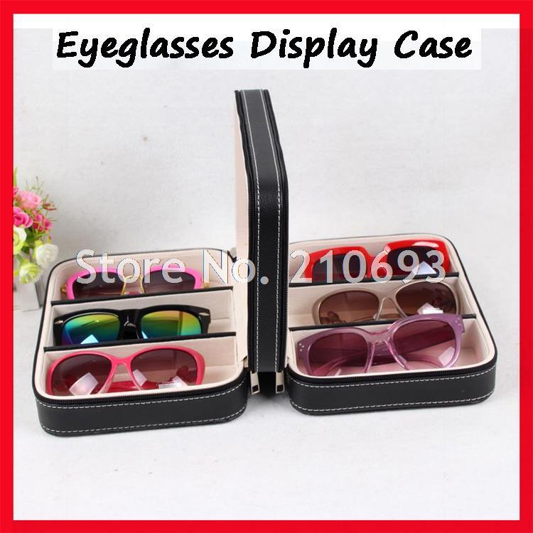 6D PU cuir portable lunettes de soleil vitrine, vitrine de lunettes, valise avec fermeture à glissière, pour tenir 6 pièces de lunettes de soleil