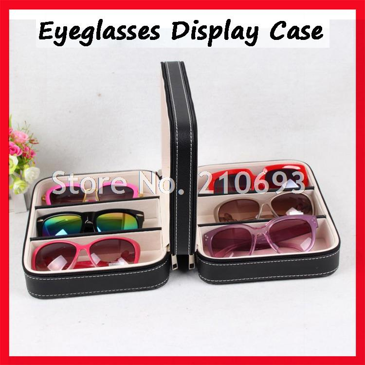 6D PU leather portable sunglasses display case, eyeglass display box, suitcase with zipper, for holding 6pcs of sunglasses