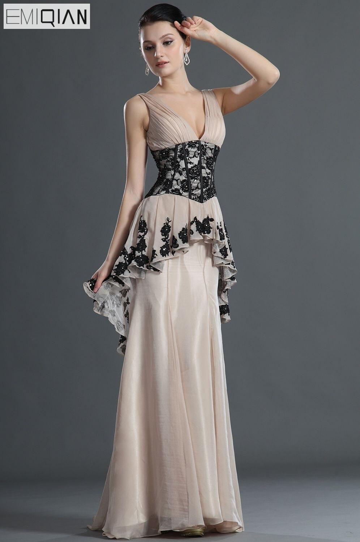 Débardeur a-ligne décolleté en V balayage Train Champagne mousseline de soie noir dentelle femmes robe de soirée formelle