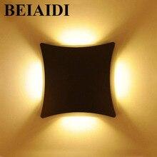 BEIAIDI 12 Вт Водонепроницаемый светодиодный настенный светильник поверхность настенный светильник Открытый сад крыльцо свет вилла ступеней лестницы настенное бра для коридора