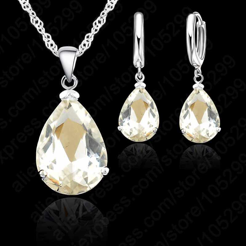 Elegant Water Drop Woman Party Wedding Jewelry 925 Sterling Silver Cubic Zircon Fashion Earring Necklace Set 9 Colors