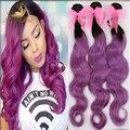 Темно корень ombre объемная волна 3 пучки бразильские человеческие волосы ombre бразильского виргинские объемная волна в 1b фиолетовый цвет волос расширения