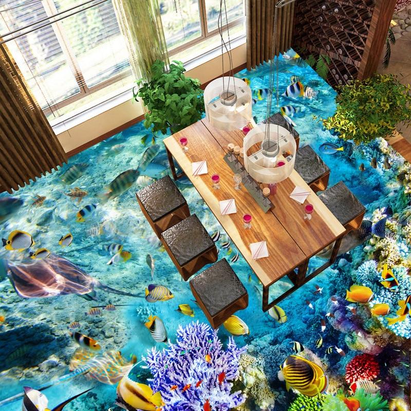 Image 2 - Custom Flooring Mural Wallpaper Undersea World Fish Coral Toilets Bathroom Bedroom 3D Floor Murals PVC Waterproof Self adhesive-in Wallpapers from Home Improvement