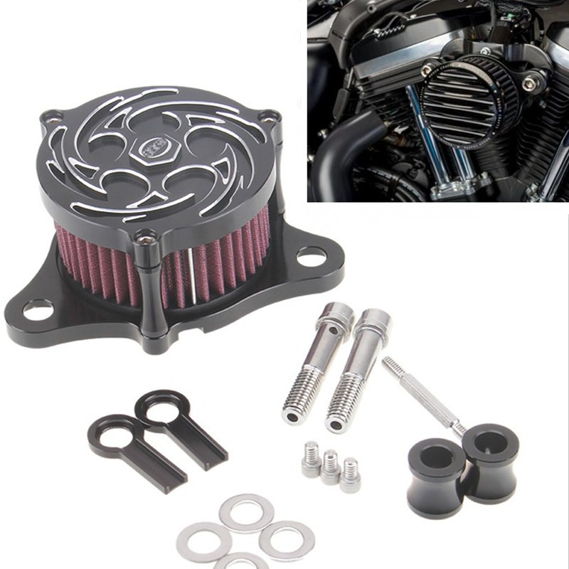 ФОТО CNC Aluminum Rough Crafts Motorcycle Air Cleaner Intake Filter System fit for Harley Davidson Sportster 2004 -2014 XL 883 XL1200