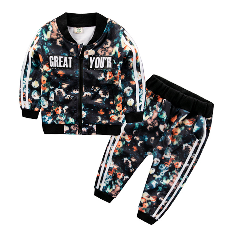 Children Clothing Baby Girls And Boys Spring Autumn Sets 2017 New Styles Kids All-Print Long-sleeve Zipper Cardigan 2PCS Suits new next fall girls graffiti sets european and american style printing zipper cardigan cartoon princess hot sale children s sets