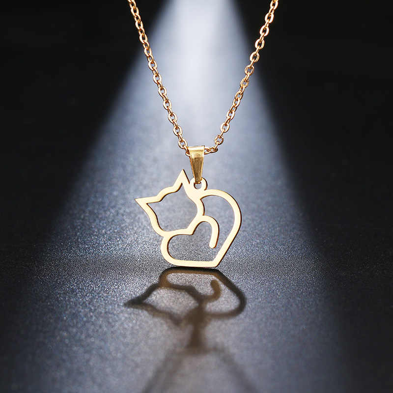 DOTIFI Stainless Steel Necklace For Women Lover's Gold And Silver Color Cat Exquisite Pendant Necklace Engagement Jewelry
