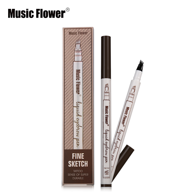 Music Flower Liquid Eyebrow Enhancer Pen 3 Color Fine Sketch Stay All Day Waterproof Eyebrow Pen Makeup Tattoo Natural Eyebrows
