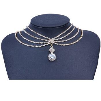 31c4531eedc5 StoneFans Crystal Rhinestone Choker collar mujeres accesorios de la boda de  la cz colgante de oro capas Chokers joyería casarse Collier
