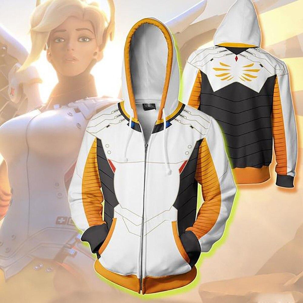 New Hoodies Men Women for Game OW Mercy Cosplay 3D Print Hoodie Angela Ziegler Jacket Zipper Casual Sweatshirts Coat