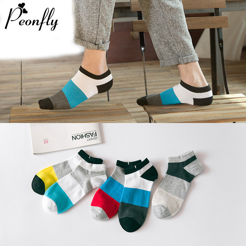 Spring And Summer Man sock slippers Fund Collide Color Male Socks Concise Fashion Cotton Concise Sweat Ship Socks