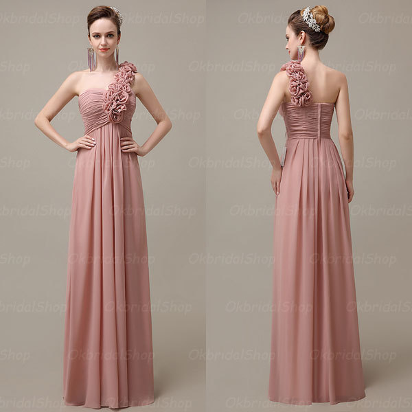 One Shoulder Elegant Por Blush Bridesmaid Dresses 2017 Chiffon Long Simple Bd13007
