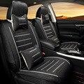 Tampa de Assento Do Carro Universal Fibra Respirável Tecido de Algodão Tecido De Linho Espessamento Branco De Alta Rebote Esponja Seat Covers