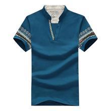 HOT SALE!Men's t-shirt V-neck mandarin collar solid casual t-shirts short sleeve summer men clothing XL Denim Blue