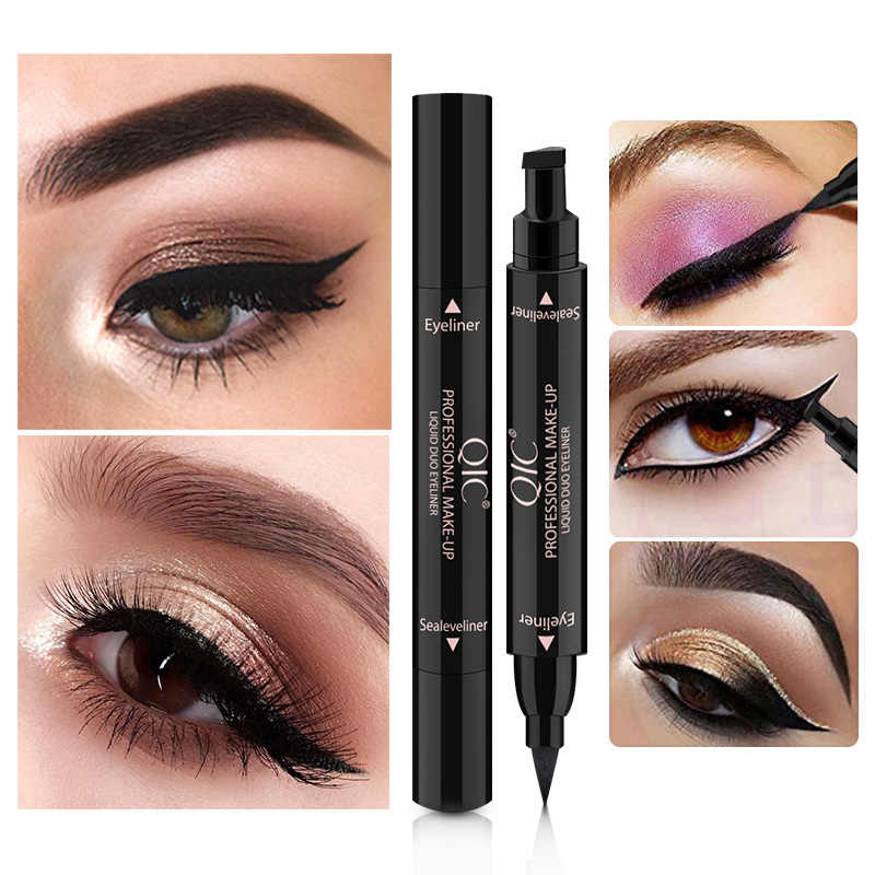 QIC Double-Headed Seal Black Eyeliner Triangle Seal Eyeliner 2 in 1 Waterproof Eyeliner Pen Eyeliner Eyes Makeup with Stamp