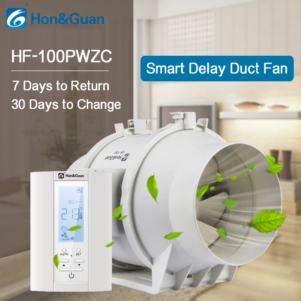 220V 4 inch Extractor Inline Duct Fan with Humidistat and Timer Bathroom Ventilation Fan with Smart