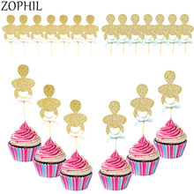 6pcs Glitter Baby Shower Cupcake Toppers Its a Boy Girl Babyshower Cake Party Decorations Favors Gender Reveal Supplies Oh