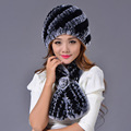 Rex Rabbit Fur Hat Scarf Set Autumn Winter Genuine For Women Natural Real Fur Scarves Winter Warm Scarf Hat Two Pcs Set