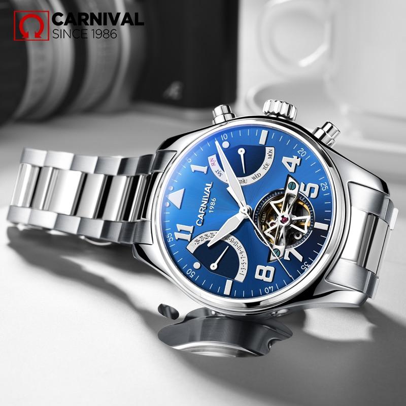 CARNAVAL Esqueleto mecánico Sandblast Hombres Reloj Impermeable - Relojes para hombres