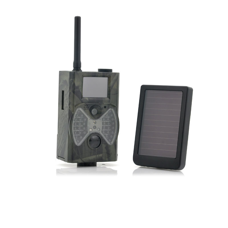 HC300M Hunting Camera Night Vision MMS GPRS with Solar Panel Battery hc300m night vision hunting game camera mms gprs with solar panel power charger photo traps solar power pack wild camera ce rohs