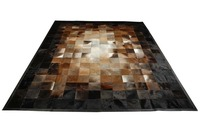 Beige Brown And Black Leather Area Rug Squares Design No 224