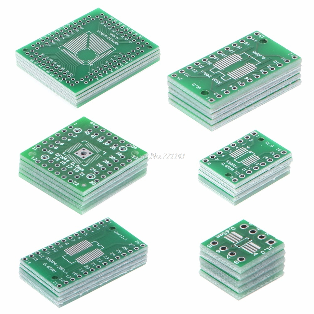 30 Pcs PCB Board Kit SMD To DIP Adapter Converter FQFP32-100 QFN48 SOP8 16 24 28