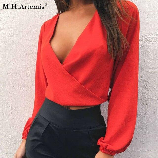 51de7866b7164 M.H.Artemis Chiffon deep v neck blouse shirt Bow tie tops Women loose crop  tops Chic girls blouse Sexy fold short top tees