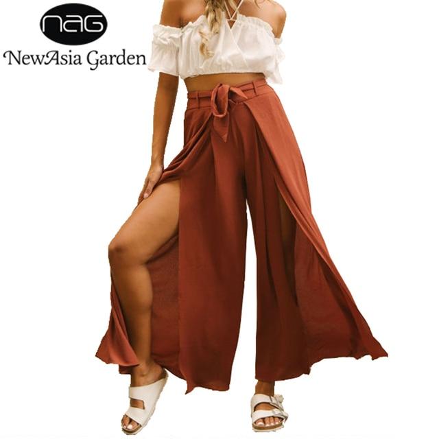 c3262934b3 NewAsia Garden With Belt High Waisted Women Wide Leg Pants Boho Summer Side  Slit Beach Long