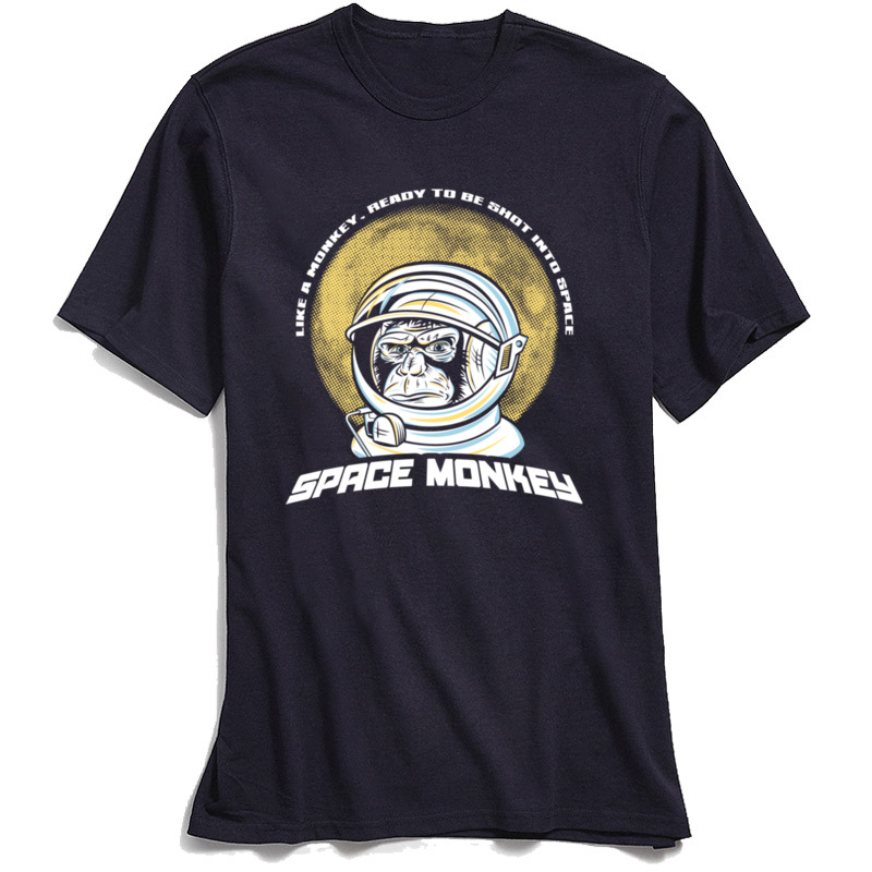 Space Monkey 2018 Newest Mens T Shirt Crew Neck Short Sleeve 100% Cotton Fabric Tees Funny Tshirts Top Quality Space Monkey navy