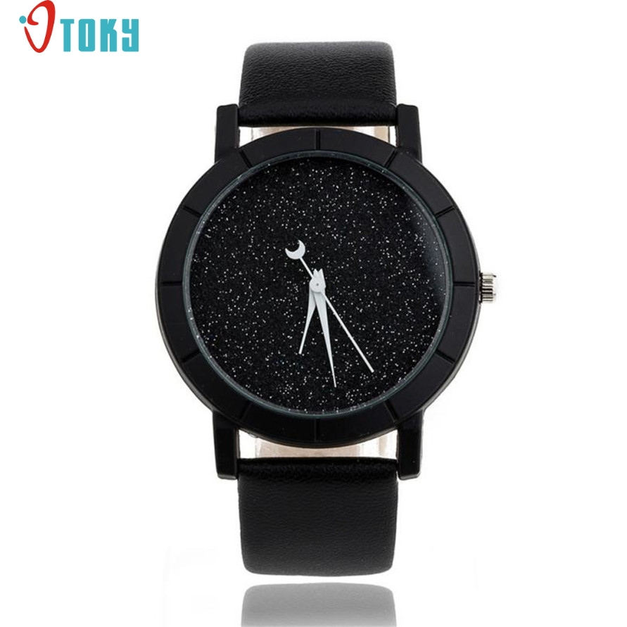OTOKY Willby Fashion Starry Watch Women Men Sequins Moon Clock Hands Faux Leather Quartz Wrist Watch