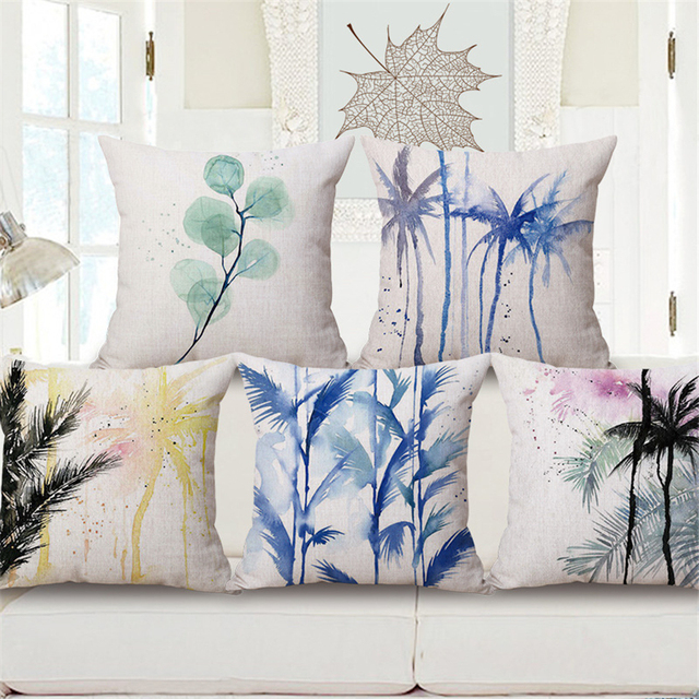 Modern Decorative Pillow Cover Coussin Decoratif Nordic Watercolor on