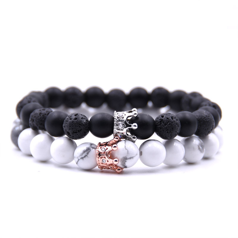 2Pcs/Set Classic Crown Bracelet Set High Quality Natural Stone Beads Golden Crown Beaded Bracelet for Men and Women Best Jewelry