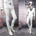 High quality white black non-mainstream casual pants personality skull zipper mens skinny pants and trousers male star joggers