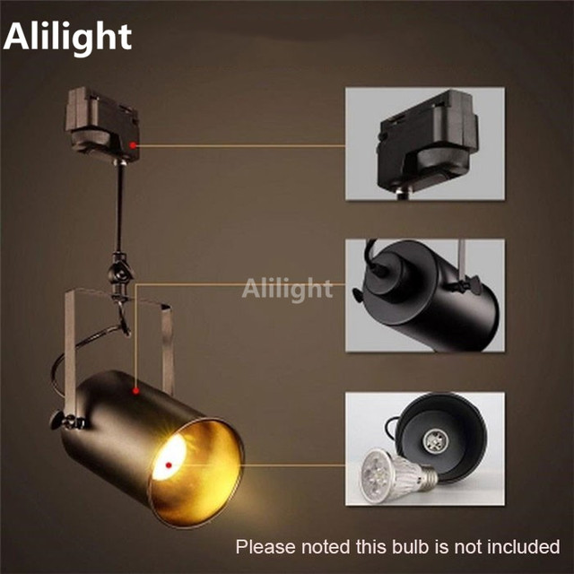 Us 44 99 Vintage Loft Retro Track Lighting Clothing Show Exhibition Light Surface Mount Black White Rali Lamp Fixtures In