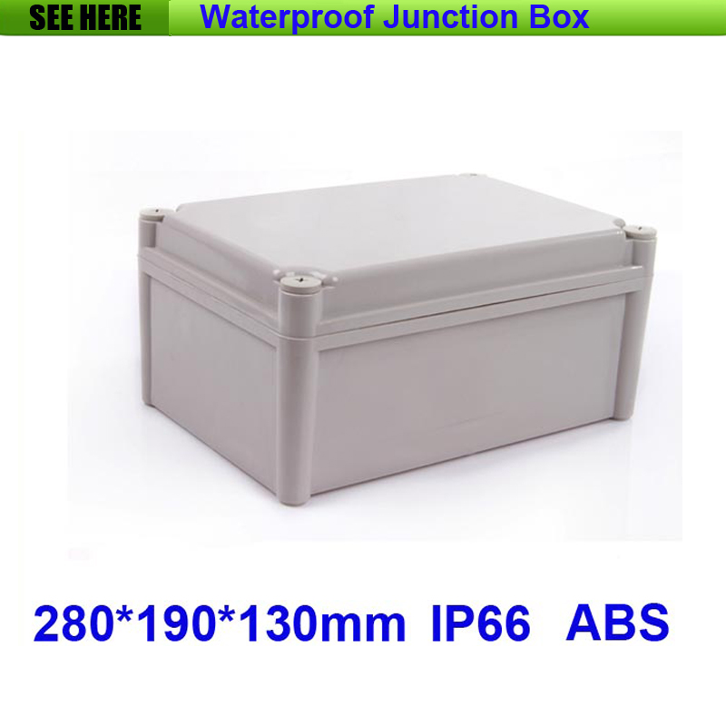 Free Shipping 1 Piece Small Type IP66 ABS Grey Waterproof plastic enclosures for equipment 280*190*130mm  цены