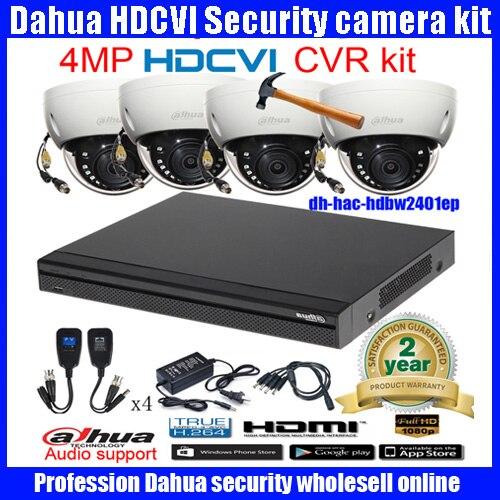 Original English DAHUA 4MP VANDALPROOF CAMERA HAC HDBW2401EP cvi dome camera with 4MP Digital CVR DH