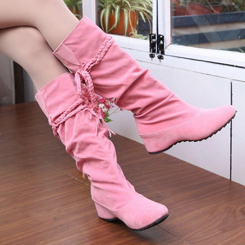 חדש נשים מגפי סתיו חורף שוליים חצי הברך גבוהה מגפי גבירותיי ציצית אופנה נעלי אישה בוטה Feminina בתוספת גודל 35-43 916620