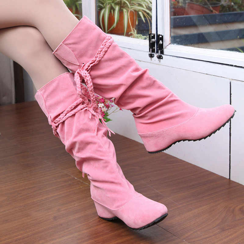 ผู้หญิงใหม่ฤดูใบไม้ร่วงฤดูหนาว Fringe ครึ่งเข่าสูงรองเท้าสุภาพสตรีรองเท้าแฟชั่นผู้หญิง Bota Feminina Plus ขนาด 35 -43 916620