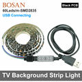 USB RGB Cuttable Fita Led DC5V TV Fundo Iluminação À Prova D' Água Com Cabo USB Preto PCB 60 LEDs 2835 luz de fundo tira