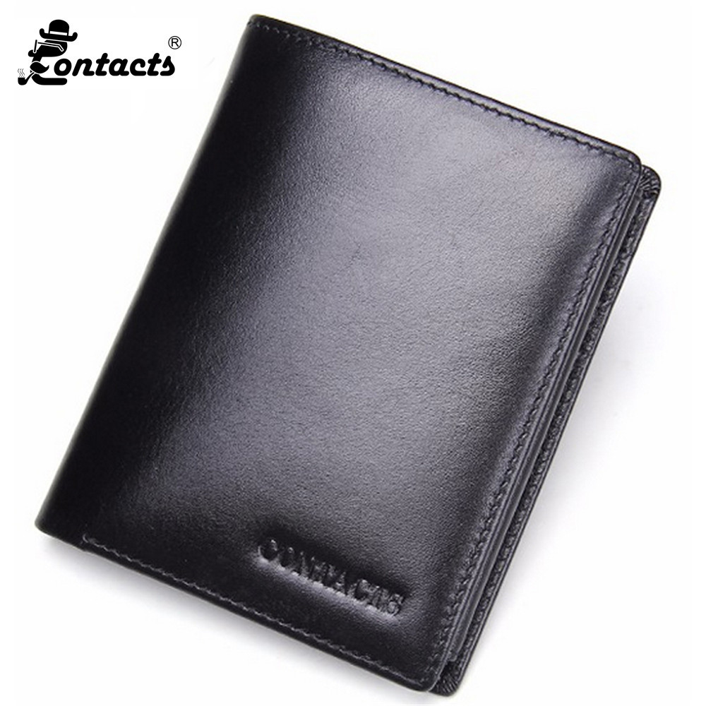 Contact's Men Wallets Natural Genuine Leather Men Wallets Fashion Splice Dollar Purse Trifold Wallet With Photo/Card Holder fabenson 100% top quality cow genuine leather men wallets fashion splice purse dollar price carteira masculina free shipping