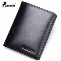 Contact S Men Wallets Natural Genuine Leather Men Wallets Fashion Splice Dollar Purse Trifold Wallet With