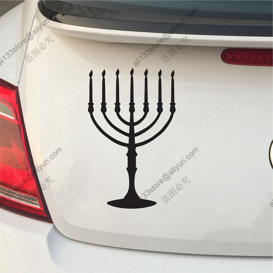 Menorah Jewish Car Decal Sticker Vinyl Israel Jew 7 Branch