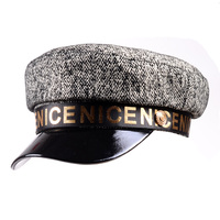 Women's Men's 100% Real Patent leather Lambskin Printing Beret Naval Hat Newsboy Militry Flat Cap Army/Navy Caps/Hats
