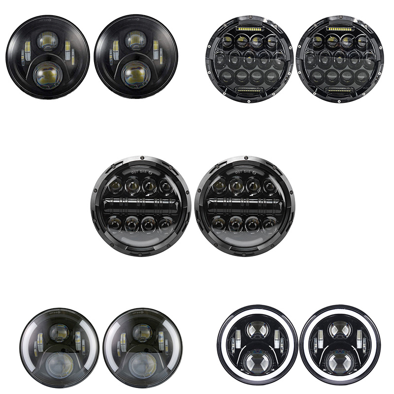 7 Led Headlight H4 High Low Beam Round Cars Running Lights for Jeep Lada 4x4 urban